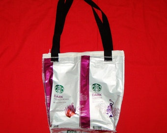 Go Green Insulated Lunch Bag Made with Recycled Starbucks Coffee Bags upcycled repurposed