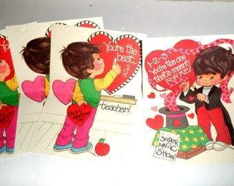 Vintage Teacher Valentines - Magician Valentine - Valentine Postcards - Valentines For Teacher - Unused Postcard Valentines