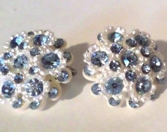 Vintage Clip On Earrings - Blue and White Flower Clip On Earrings - Blue Rhinestone Earrings - Bridal Earrings - Something Blue