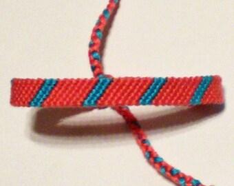 Stripe Macrame Friendship Bracelet Coral Turquoise