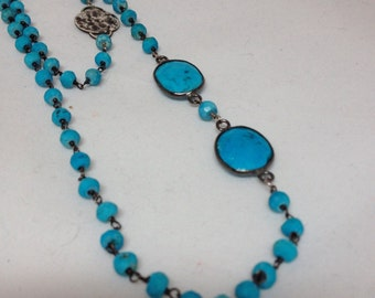 Long Turquoise Wire Wrapped Chain Necklace or Bracelet with Bezeled Turquoise and Sterling Silver