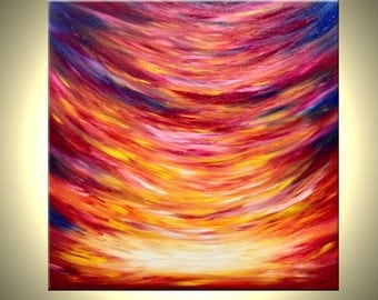 "Huge Original Red Sunrise SUNSET Abstract Painting by Artist Dan Lafferty - 30""x30"" - Gates Of Heaven - 22% Off"