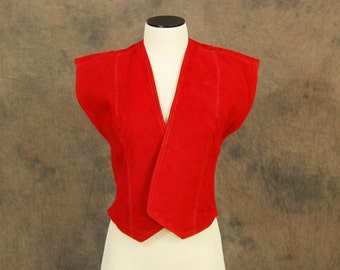 Clearance Sale vintage 40s Vest - Red Leather Vest - 1940s Suede Vest Sz S