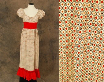 vintage 70s Maxi Dress - 1970s Heart Print Peasant Dress - Boho Folk Babydoll Dress Sz S