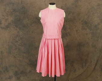 vintage 50s Skirt Set - 1950s Pink Striped Skirt Suit - Circle Skirt and Blouse Set Sz S