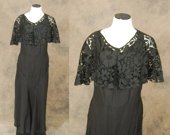 vintage 30s Evening Gown - Black Lace Cape Capelet Dress 1930s Art Deco Maxi Dress Sz M