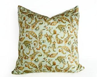 Aqua Pillow Covers,  Seamist Floral Pillows, Seafoam Pillows, Jacobean Floral Pillows, Blue Green Gold Pillow, Paisley Pillow, 18x18