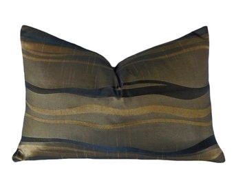 Taupe Accent Pillow, Black Gold Pillow Covers, Black Striped Pillow, Mens Lumbar Pillow Cover, Metallic Stripes Pillow, Oblong 14x20, SALE