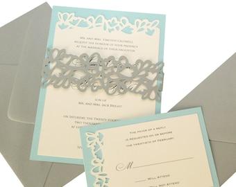 Petal Cutout Wedding Invitations - wrap design, gray, pool, leaves, invite, party, leaf, flower, charming, cute, sweet 16