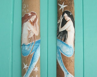 2 Hand Painted Mermaid Wall Decor Large on Driftwood/Bamboo