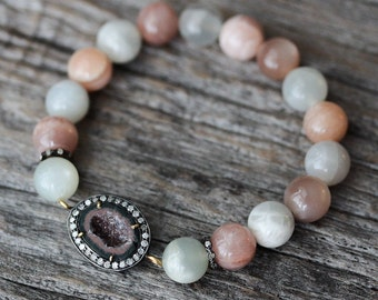 Moonstone Diamond Druzy Statement Bracelet / Multi Color Natural Stones Birthstone Beadwork Peach, Cream, Milk White Cats Eye, Boho, Tribal