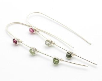 Tourmaline Stix Modern Artisan Earrings in Argentium Silver / Green Pink Yellow Colorful, Dangle Earrings, Pastel, Lightweight