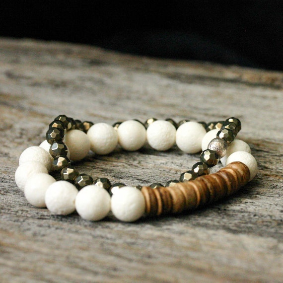 Pyrite Bead Bracelet Beadwork with Sterling Silver Brushed Focal - Fools Gold Stacking compliments white metallic golden romantic