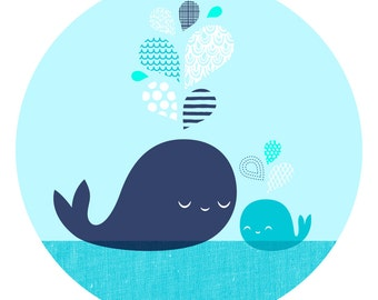 "8X10"" Daddy & Baby Whale giclee print on fine art paper. Navy and teal."