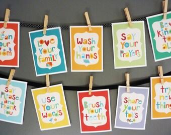 Kids Wall Art- Manners set- 5x7 wall cards-kids wall decor|nursery decor