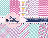 80% OFF SALE Girls Movie Party Digital Paper Pack in Pink Purple & Aqua Blue Instant Download Commercial Use Graphics