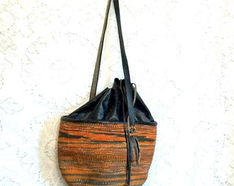 Woven Sisal Bucket Bag Southwestern Purse