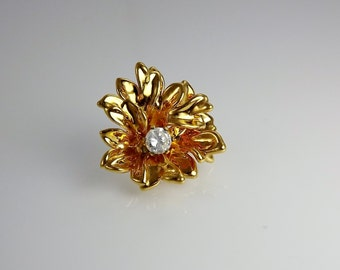 Flower Rhinestone Pendant, Gold Flower, Costume Jewelry