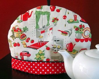 Retro 50s Tea cozy | Red and Black | Teapot cosy | Polka dots | Tea cozies | Retro kitchen | Tea warmer - Ready to ship