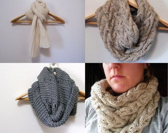 3 Patterns - Cable Cowl Infinity Scarf Pattern, 5th Avenue Scarf, Oversized Cowl Infinity Scarf / Digital PDF Knitting Patterns