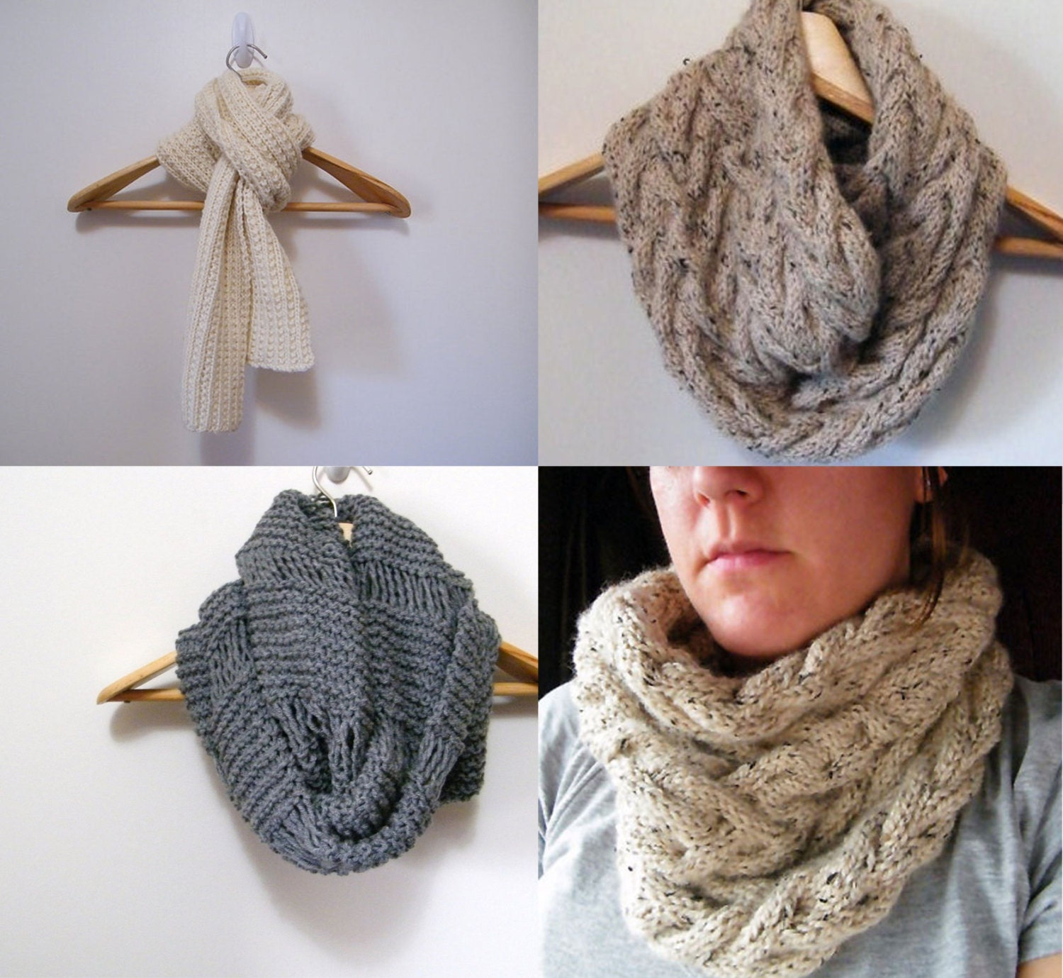 3 Knitting Pattern Cable Cowl Infinity Scarf by LewisKnits