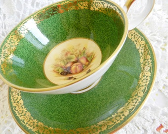 Green Aynsley Teacup, Aynsley Fruit Teacup, Green Tea Cup, English Bone China,  no A22