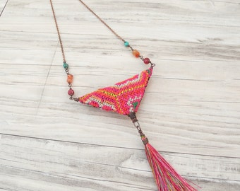 Colorful Eclectic Necklace - Bohemian Jewelry with Silk Tassel and Vintage Hill Tribe Embroidery, Fiber Art Jewelry, Handmade