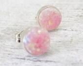 Pink Opal Earrings, Sterling Silver Opal Stud Earrings, Small Opal Earrings