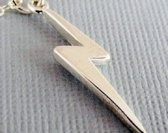 Lightning Bolt Charm Necklace, Sterling Silver Charm Necklace