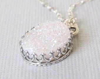 White Druzy Necklace, White Crystal Druzy Pendant Necklace, Gifts For Mom, Crystal Necklace, Oval Druzy Stone, Druzy Jewelry, Gift For Her