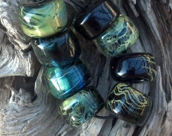 Midnight in Paris Glass Lampwork Beads Black Blue Green Gold