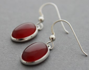 Sterling and Carnelian Earrings - Simplicity