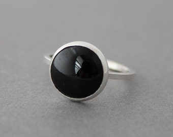 Statement Ring - Sterling Black Onyx Ring - Size 7 US/CANADA