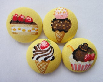 Ice Cream Cones & Cakes Yellow Japanese Fabric Covered Buttons For Sewing - 27mm - Set of 4