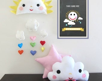 Sunshine Baby Mobile - You are my Sunshine. Nursery, Decor, Mobile, Clouds, Heart, Baby, Room, Spring