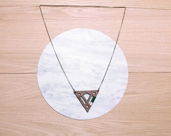 Sale  - DIAMOND - geometric, laser cut/etched & string wrapped walnut necklace - 4 color combinations available