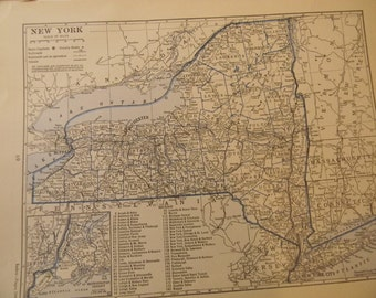 1934 State Map New York  - Vintage Antique Map Great for Framing