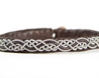 SwedArt B14 Telemark Lapland Reindeer Leather Bracelet with Antler Button Dark Brown LARGE