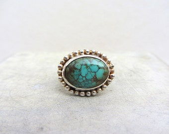 Sterling silver and Turquoise ring - handcrafted sterling silver ring