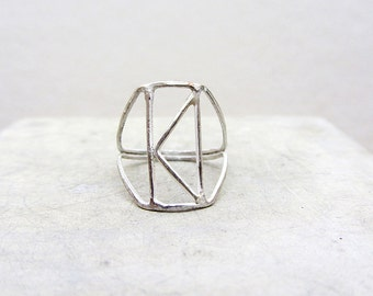 K initial sterling silver ring ,  Handmade sterling silver ring, size 7.5