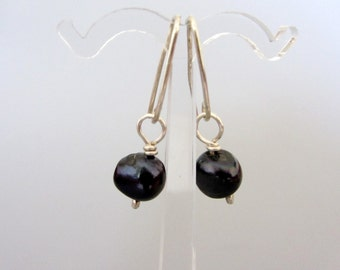 Black pearls sterling silver earrings, dangle pearls earrings
