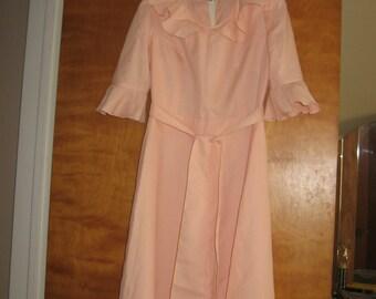 vintage wedding dress silk tricotine rosy pink custom made 1980s Russia sz XS