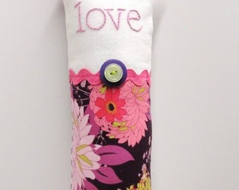 "love pillow- hand embroidered doorknob pillow ""love"" in lavender on ivory linen and floral print-  ready to ship"
