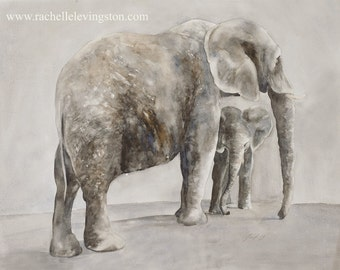 animal painting watercolor painting african wall hanging elephant wall art Home Decor Elephant art print baby nursery 11x14 decor grey gray