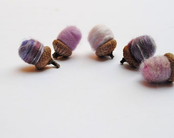 Felted Acorns- Lilac Purple SET of 12- Home Decor- Silk and Wool in Real Acorns Caps- Modern Woodland