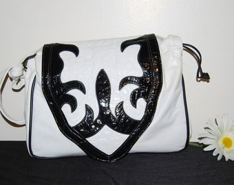 Vintage Purse White Leather with Black