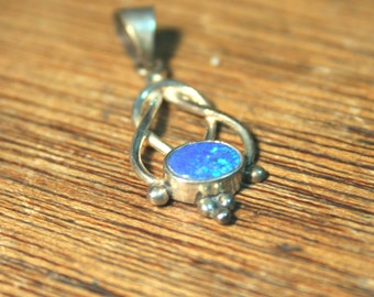 Genuine Blue Opal set in Solid 925 sterling Silver