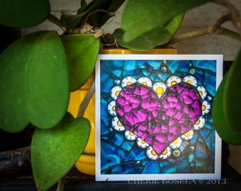 Blank Greeting Card - Glitter Pink Heart mosaic