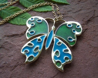 Vintage Jewelry Outstanding Large Enamel Butterfly Necklace Blue and Green Signed PLO on original 22 Inch Goldtone Chain Mod