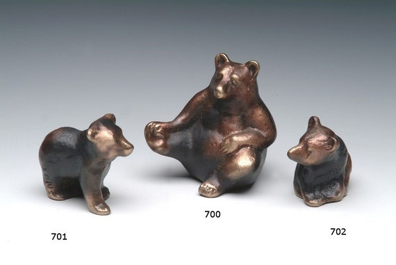 Bear Cub, solid bronze baby bear, offered individually, tiny sand cast
